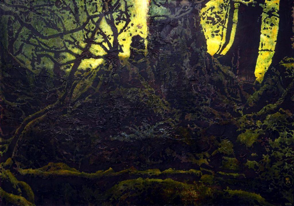 Philemon und Baucis, Acryl auf Nessel, 129 x 180 cm