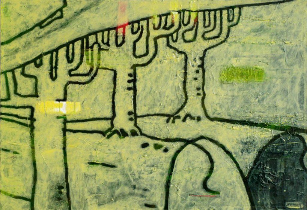 Der gelbe Ton I, Acryl auf Nessel, 60 x 87 cm