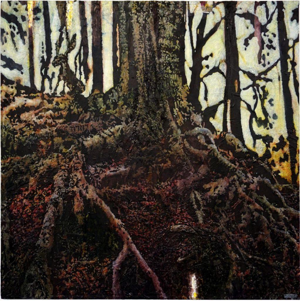 Der Herr des Waldes, Acryl auf Nessel, 100 x 100 cm