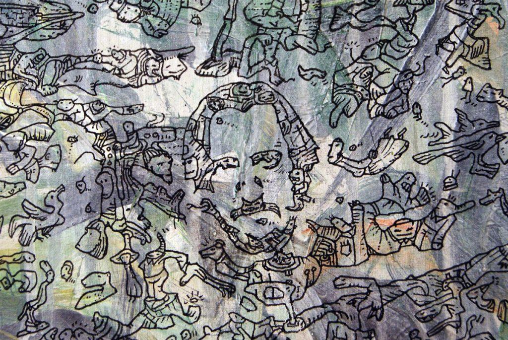 Meilensteine der Prokrastination I, Acryl und Marker auf Nessel, 100 x 140 cm, Ausschnitt