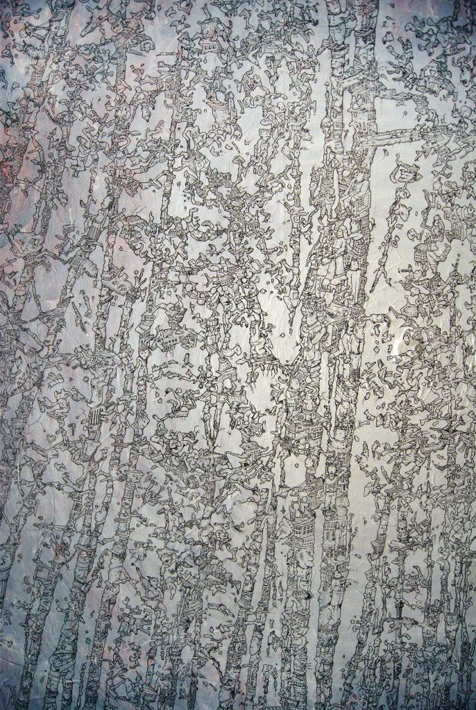 Meilensteine der Prokrastination II, Acryl und Marker auf Nessel, 100 x 140 cm, Ausschnitt