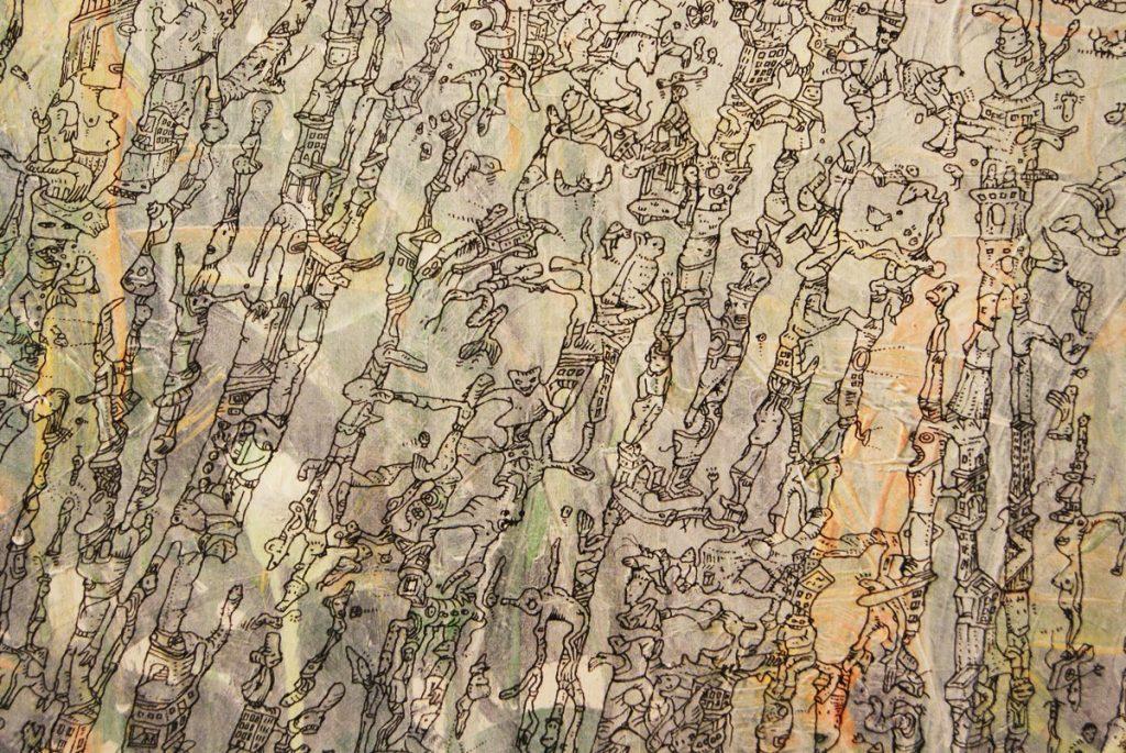 Meilensteine der Prokrastination IV, Acryl und Marker auf Nessel, 100 x 140 cm, Ausschnitt