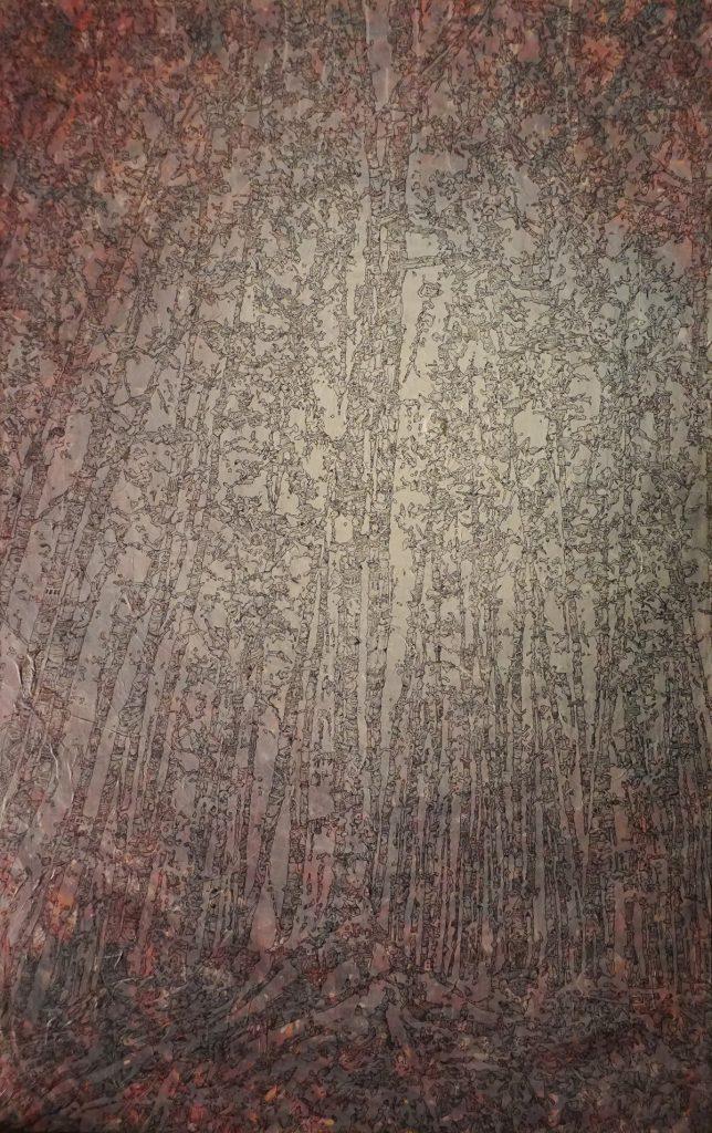 Meilensteine der Prokrastination III, Acryl und Marker auf Nessel, 150 x 93 cm