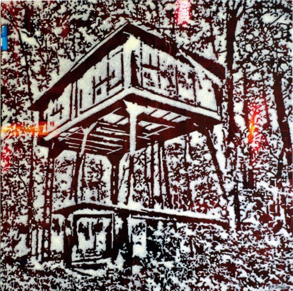 Spuren II, Acryl auf Nessel, 77 x 77 cm, in Privatbesitz