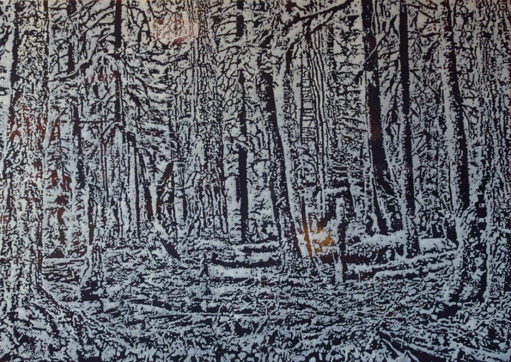 Wald II, Acryl auf Nessel, 100 x 140 cm, in Privatbesitz (Mexico City)