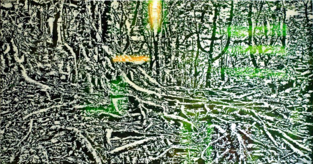 Wald IX (Wurzeln), Acryl auf Nessel, 90 x 180 cm