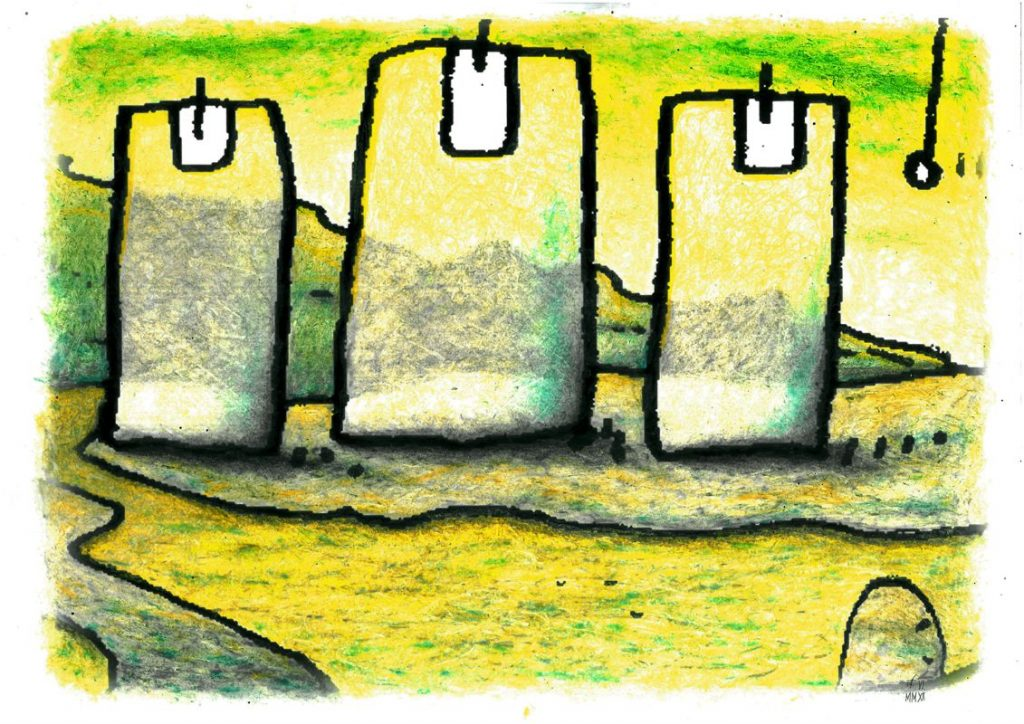 Ölkreide und Polychromos auf SW-Kopie, je 28 x 40 cm