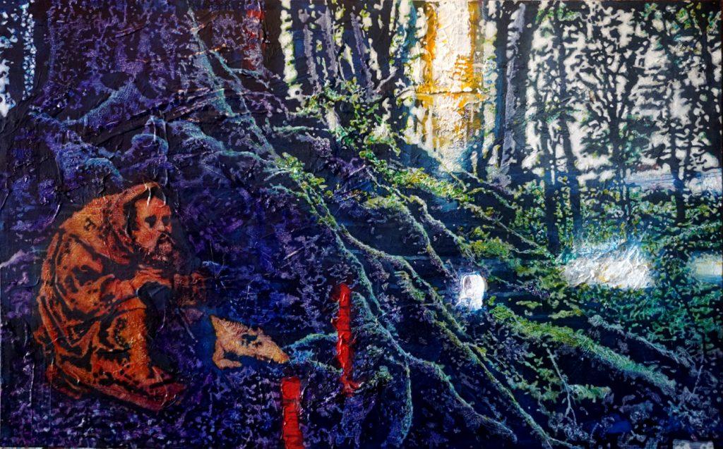 Die Versuchung des heiligen Antonius, Acryl auf Nessel, 50 x 80 cm