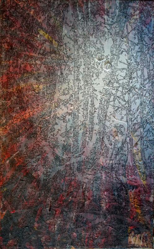 Tiefer in den Wald (Meilensteine der Prokrastination IV), Acryl und Marker auf Nessel, 80 x 50 cm