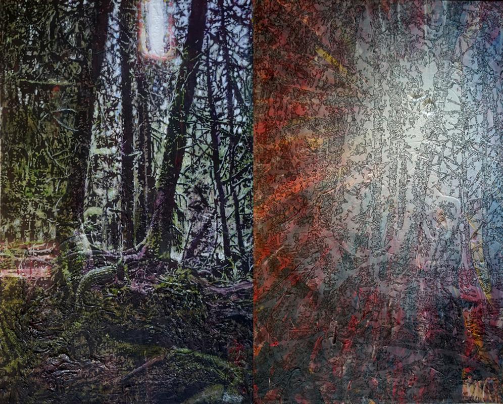 Tief und tiefer in den Wald, Acryl auf Nessel, je 80 x 50 cm